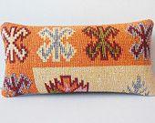 10x20 orange cream knitting pillow turkish pillow cover lumbar organic pillow case throw vintage cushion cover kilim geometric pillow cover