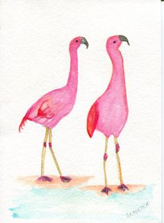 Flamingos Watercolors Paintings Original 5 x 7 by SharonFosterArt
