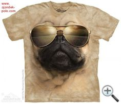 This Pug looks like a real ace on the Aviator Pug Human T-Shirt by The Mountain! Shirt for adult humans. Pug face with glasses on shirt.