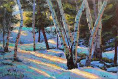 Light in the Forest 24x36 Original LARGE Oil Painting Impressionism Snow Aspens Birch trees by Carl Bork