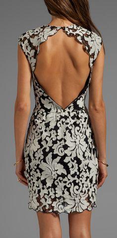 Damask open back dress