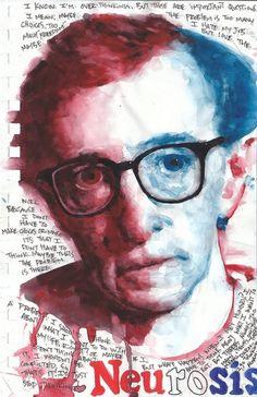 Watercolor Woody Allen