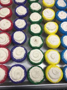 Cupcakes rolled in colorful sprinkles Custom Cupcakes, Sprinkles, Rolls, Colorful, Cookies, Desserts, Food, Personalised Cupcakes, Crack Crackers