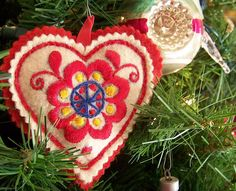 Felt heart ornament embroidered