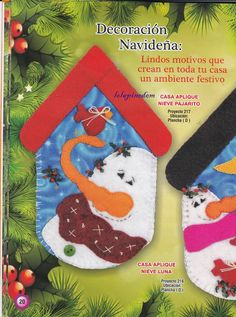 D 20, Christmas Stockings, Xmas, Creando Ideas, Holiday Decor, Blog, Christmas Ornaments, Felt Patterns, Fun Crafts