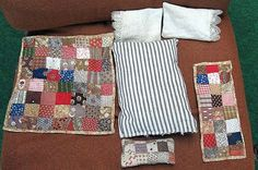 ANTIQUE DOLL BED BEDDING. TINY QUILT, MATTRESS AND PILLOWS.