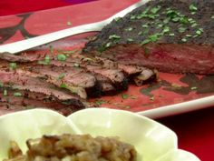 Get Giddy-Up Steak with Onion-Date Compote Recipe from Food Network