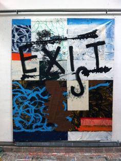 Hermann Josef Hack, EXI-S-T, painting on tarpaulin, 2013