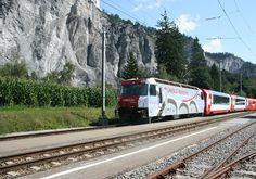 The Glacier express in the Rhine Gorge, Switzerland
