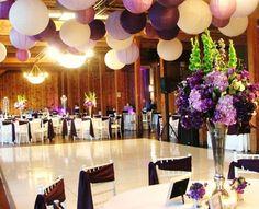 Dark purple paper lanterns, violet paper lanterns and ivory wedding lanterns - love this colour scheme!