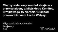 """""""Międzyzakładowy Komitet Strajkowy"""" på @Wikipedia:"""