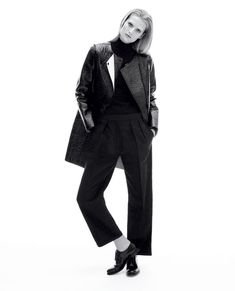 Toni Garrn in an Alexander Wang coat, Givenchy turtleneck, The Row pants and Church's shoes.