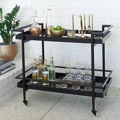 Livingston Black Glass 2-Shelf Rolling Bar Trolley