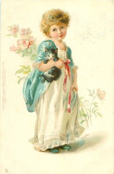 girl in white dress, blue shawl, carrying kitten