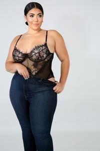 This Jolie Super Beauty Lace Bodysuit features stretch fabric, v-neckline, finished with adjustable straps. Model is wearing a Fabric: Polyester Spandex Hand wash cold, line dry. Do not bleach, iron or dry clean. Looks Plus Size, Look Plus, Plus Size Model, Curvy Women Outfits, Plus Size Outfits, Body Suit Outfits, Sexy Outfits, Curvy Women Fashion, Plus Size Fashion