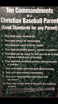 10 commandments of Christian baseball