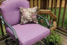 Painted outdoor cushion tutorial! So much cheaper than buying new ones and the throw pillows are made from a shower curtain!