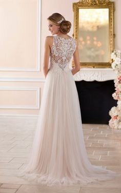 6284 High Neck Wedding Dress with Lace Back by Stella York