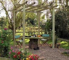 combines sturdy timber uprights and cross bearers to create a robust wooden garden pergola