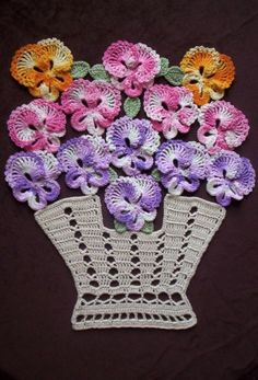 "New Handmade Crochet ""Bakers Dozen Basket of Pansies"" Doily with Life Size Pans"