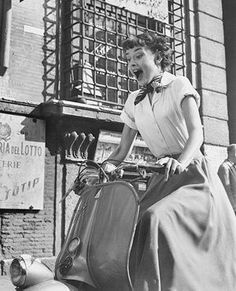 Audrey goes for a spin on a Vespa, Roman Holiday publicity still. Copyright © Paramount Pictures.