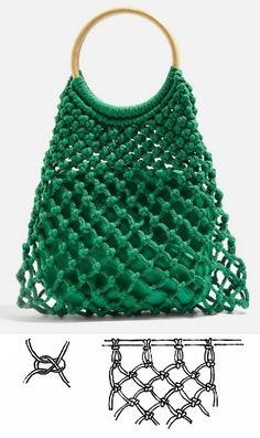 Crotchet Bags, Crochet Tote, Macrame Purse, Macrame Knots, Diy Bags Tutorial, Handmade Wire Jewelry, Finger Knitting, Macrame Tutorial, Macrame Patterns