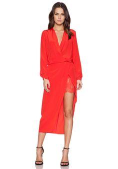 Mason by Michelle Mason Longsleeve Wrap Dress in Poppy   REVOLVE