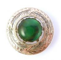 Vintage Sterling Silver And Faux Bloodstone Scottish Shield