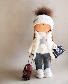 Muñeca hecha a mano textiles muñeca tela muñeca Tilda rosa