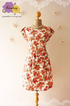 Floral Dress Sleeve Dress Fall Shade Romantic Dress by Amordress, $43.50  Old School Traditional Tea Dress.