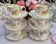 Antique China Teacups and Saucers Tea Set by cake-stand-heaven, via Flickr