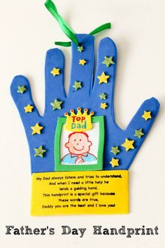 Father's Day handprint craft for kids to make, including a cute poem to show how much they love Dad