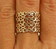Stile filigrana splendida 14k oro placcato anello... disponibile solo nel formato: 6, 7, 8, disponibile solo nel formato: 6, 7, 8 (dimensione US) ampia