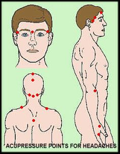Acupressure points to relieve headaches. Includes a list of other conditions and their corresponding acupressure points -- this works, have used it on many family members Acupressure Massage, Acupressure Points, Acupuncture Points, Acupressure Treatment, Reiki, Alternative Health, Alternative Medicine, Migraine, Holistic Healing