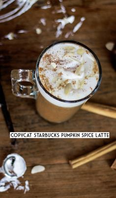 Copycat Starbucks Pumpkin Spice Latte with whipped cream (healthified, lactose-free, refined sugar-free, 220 kcal)