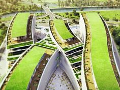 Gardens: JDS Architects Unveil Green-Roofed Daylit Office for Istanbul. Kagithane Gardens: JDS Architects Unveil Green-Roofed Daylit Office for Istanbul Green Architecture, Sustainable Architecture, Sustainable Design, Landscape Architecture, Sustainable Energy, Chinese Architecture, Terrace Building, Green Building, Building Facade