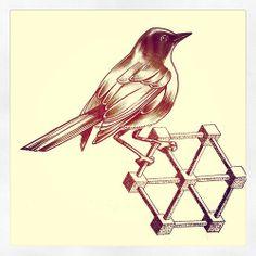 geometry bird tattoo flash by Miss Sita @ One O Nine Barcelona