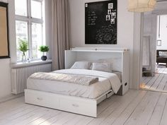 Give a majestic look to your bedroom by using this Atlantic Furniture Hamilton Murphy Bed Chest Queen White with Charging Station. Queen Murphy Bed, Murphy Bed Desk, Murphy Bed Plans, Murphy Bed With Couch, Office With Murphy Bed, Murphy Bunk Beds, Beige Headboard, Fold Out Couch, Fold Out Beds