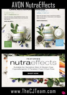 🍃NutraEffects, natural skin care for all skin types.  Introducing Avon nutraeffects, the new skin care collection, suitable for sensitive skin, hypoallergenic, dermatologist tested and dye-free made with chia seed, nature's perfect health-packed powerhouse! Reg. $18. Shop online with FREE shipping with any $40 online Avon purchase. #Avon #C5 #CJTeam #Sale #NutraEffects #Chia #SkinCare #Natural Shop Avon Skin Care online @ www.TheCJTeam.com