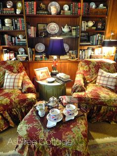 """Ash Tree Cottage: Time For Tea And A Mystery - the """"collected"""" look of the bookshelves"""