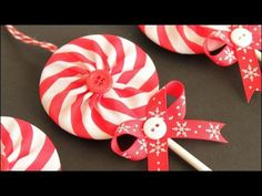 Learn how to make these fabric yoyo lollipop Christmas ornaments! Including how to make a double sided yo-yo using striped fabric to make a pinwheel pattern in the finished yo-yo's. Make these in a variety of striped patterns for all kinds of different lo. Christmas, Fabric, Ornament, Christmas,