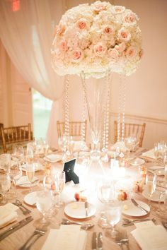 Soft & Dreamy Lighting - Classic & Elegant Hydrangea + Rose Centerpieces with Crystals. See the wedding on SMP here: http://www.StyleMePretty.com/2014/05/22/croalgables-traditional-wedding/ Photography: JulieCate.com - Floral Design: TriasFlowers.com