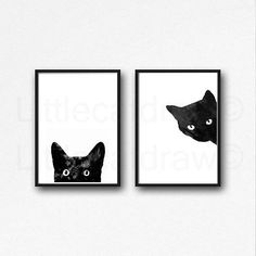 Black Cat Art Print Set of 2 by Littlecatdraw. This listing is for 2 archival prints, printed on smooth archival white art paper, 200 gsm. Frame Not Included. Print Only. SIZES: 4x6 inches (10x15 cm) 5x7 inches (13x18cm) 8x10 inches (20x25cm) A4 8.2x11.7 inches (21.0 x 29.7cm) INK: