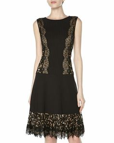 Lace Fit-And-Flare Cocktail Dress, Black/Nude by Tadashi at Neiman Marcus Last Call.