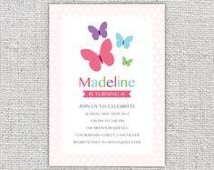 girl birthday invitation printable digital butterflies pink polka dots girly colorful invite chidrens invite customizable personalized. $14,99, via Etsy.