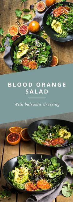 A simple, fresh blood orange salad with a balsamic vinegar dressing