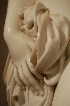 Detail of a life-sized marble statue by Richard James Wyatt (1795-1850), English. Detroit Institute of Art