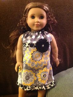 Me & You & Maddie Moo - yellow black and gray pillowcase dress for 18 inch doll like American Girl
