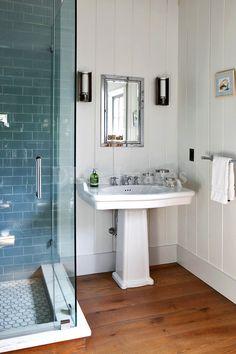 fehér, kék, fa / contemporary white bathroom blue shower and white walls