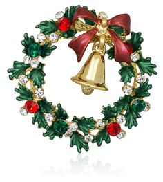 Swarovski Element Crystals Wreath and Gold-tone Bell Brooch Pin - CK1271NY77R - Brooches & Pins  #jewellrix #Brooches #Pins #jewelry #fashionstyle